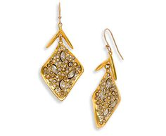 Alexis Bittar Miss Havisham Crystal Encrusted Diamond Shape Earrings - Gold