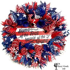 of July Deco Mesh Door Wreath Fourth of July Wreath - Art Sketches Easter Wreaths, Holiday Wreaths, Holiday Crafts, Fourth Of July, 4th Of July Wreath, Deco Mesh Wreaths, Ribbon Wreaths, Burlap Wreath, Memorial Day Wreaths
