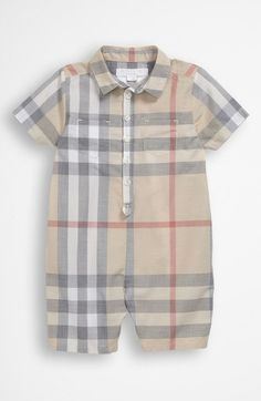 Burberry Woven Short Romper (Baby) available at #Nordstrom