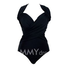 $15.70 Spandex V-Neck Solid Color Bikini Swimming Suit For Women