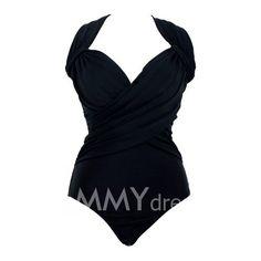 $15.70 Spandex V-Neck Solid Color Bikini Swimming Suit For Women