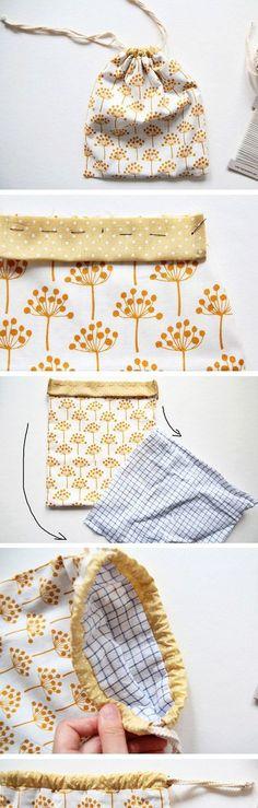 Cute DIY Drawstring Bag Tutorial. http://www.handmadiya.com/2016/10/drawstring-bag-tutorial_27.html
