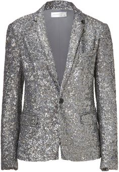 Silver Allover Sequined Veda Blazer by Zadig Sequin Blazer, Sequin Jacket, Blazer Jacket, Women Church Suits, Blazer Buttons, Casual Elegance, Love Fashion, Ladies Fashion, Womens Fashion