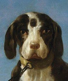 Perros en traílla/Leashed Dogs, Francisco de GOYA, Óleo sobre lienzo, 112 x 174 cm, 1775. DETAIL.