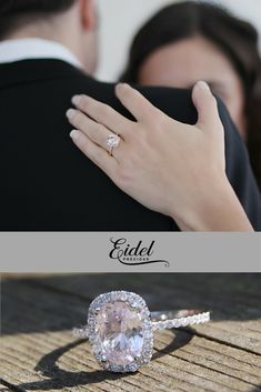This ring features a 4.72ct oval sapphire. It is a natural non-treated stone, very rare. The color is pastel peach champagne. View our collection today!