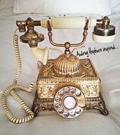 Vintage Phone, Audrey Hepburn, Breakfast at Tiffany's.  My mother-in-law had one like this.
