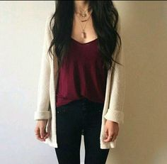Burgundy outfit - Flawless Women's Cardigan Spring Summer Outfits – Burgundy outfit Trendy Outfits, Cute Outfits, Fashion Outfits, Outfits With Boots, Fashion Tips, Fashion Trends, Fall Winter Outfits, Summer Outfits, School Outfits