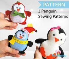 3 penguin patterns, Felt Christmas Penguin Patterns, Pattern Bundle PDF Sewing pattern A1086