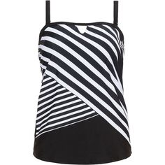 Cactus Black / White Plus Size Striped cut out tankini top ($62) ❤ liked on Polyvore featuring swimwear, bikinis, bikini tops, black, plus size, plus size bikini, striped bikini, plus size swim tops, plus size tankini tops and swimsuit tops