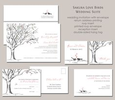 Sakura Cherry Blossom Love Birds Wedding Invitation Suite