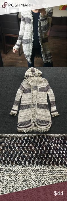 Zara Fringe Cardigan • 86% cotton / 12% acrylic / 1% polyester / 1% wool hooded open long length cardigan • Fringe edges all around • Small stains back of right arm Zara Sweaters Cardigans