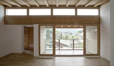 Image 2 of 23 from gallery of Residential Wood Building in Selvino / Camillo Botticini. Photograph by Luca Santiago Mora Wood Architecture, Architecture Details, Empty Room, Door Curtains, Clean Design, Windows, Interior Design, Gallery, Building