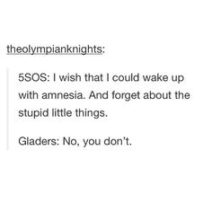 YES. AND THE PERCY JACKSON FANDOM IS WITH THE GLADERS ON THIS ONE. NO ONE WANTS TO WAKE UP WITH AMNESIA.