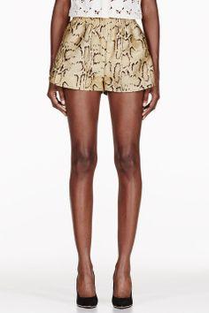 Stella Mccartney Gold Snake Print Shorts