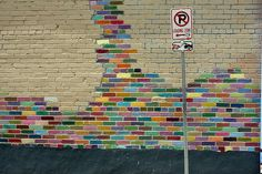 Rainbow painted brick wall -