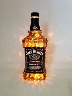 Jack Daniels Liquor Bottle Light - Perfect For a Bar Liquor Bottle Lights, Liquor Bottle Crafts, Alcohol Bottles, Diy Bottle, Liquor Bottles, Bottles And Jars, Bottle Art, Glass Bottles, Jack Daniels Gifts