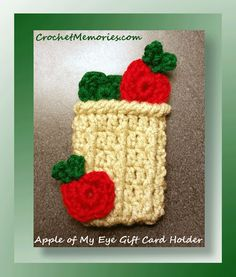 Our sweet little autumn themed gift card holder represents a basket of apples which is perfect for fall birthdays - a little bit country!  Slip the gift card inside and the gift becomes even sweeter!  This project doesn't take long at all to stitch.
