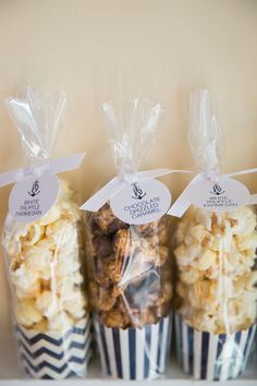 Gourmet Popcorn Wedding Favors- striped container inside cellophane bag