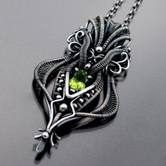 Peridot Necklace , Fine Silver Necklace , August Birthstone - Willow. $325.00, via Etsy. by Sarahndippity