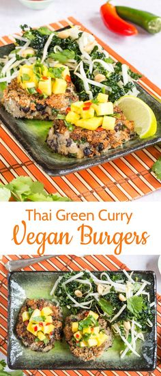 These vegan burgers are a delicious twist on an easy Thair Green Curry recipe. Make these Thair green curry burgers for your next barbeque! #thai #curry #vegan #burgers #bbq