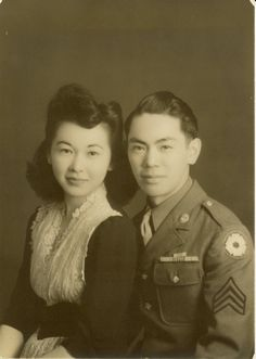 """""""This is my mom and dad towards the end of WWII. My dad was in the all Japanese (except for the officers) 442nd Regimental Combat Team - the most highly decorated unit of their size in US history. One reason was because of the number of casualties they had. My dad was wounded 3 different times during the war (he survived all 3 ). (via major-hellstrom)"""
