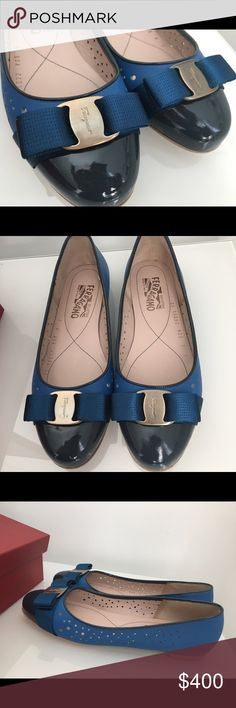 💯% authentic Salvatore Ferragamo Glenda flat Salvatore Ferragamo Glenda Perforatted Ballerina Flat top 12.  Especially this one are beautiful design of Glenda with 3 amazing tones of blue color.  This purchase comes with Original shoes box and dusty bag. Salvatore Ferragamo Shoes Flats & Loafers
