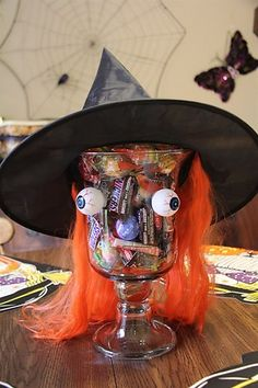 Candy Dish decorated as a Witch #upcycling #halloween ideas