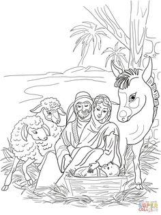 Printable Nativity coloring page. Free PDF download at