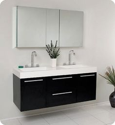 black vanity with sink. There is always great design in simplicity  especially with the Fresca Opulento Double Vanity greatness sink vanity 54 Black Sink Bathroom Medicine