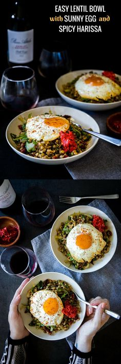 Easy Lentil Bowl with Sunny Egg & Harissa, a simple lentil bowl with farro, onion, arugula and sun dried tomatoes topped with a sunny egg and spicy harissa. via @kristinatodini