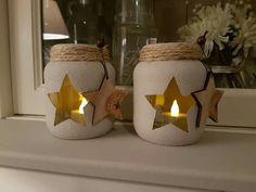 A diy birt Mason Jar Christmas Crafts, Diy Christmas Tree, Mason Jar Crafts, Mason Jar Diy, Bottle Crafts, Holiday Crafts, Christmas Ornaments, Ramadan Decorations, Diy Wedding Decorations