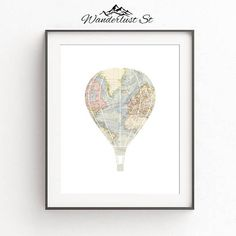 Hot Air Balloon Art, Hot Air Balloon Print, Travel Decoration, Travel Room Decor, Travel Nursery Print, World Map Prints, DIGITAL DOWNLOAD