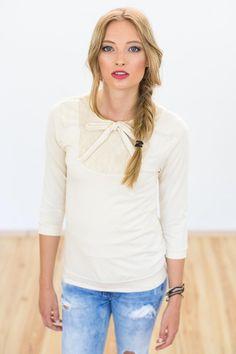 Longsleeves - Shirt Marie-Ann beige Bio Baumwolle - ein Designerstück von Shoko bei DaWanda