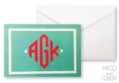 mod monogram notecard set