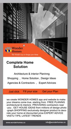 Get free home interior and architecture design planings & best home ideas to full fill your home design requirement by Wonder Homes design and planning android,ios,web application.