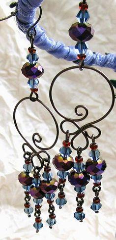Purple Iris Swarovski Wirework Earrings handmade jewelry