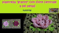 piastrella granny all'uncinetto tutorial con fiore a 6 petali