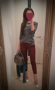 Black and white striped shirt + brown pants + brown bag + jeans jacket + white shoes - http://ameblo.jp/nyprtkifml