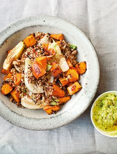 Diana Henry's pilaf recipe is made with mixed grains, sweet potato and fennel, served with an avocado cream.