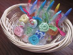 Washcloth & soft handled spoon Lollipops - mom to be gift