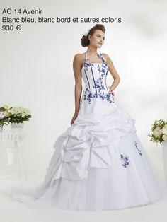 Robe mariee bleu et blanche