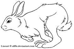 Running Rabbit Lineart Tattoo Design
