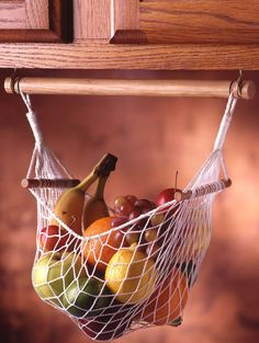 Under cabinet fruit and veggie hammock! Save counter space with this hammock!