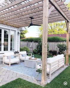 backyard patio designs Outdoor patio space with herringbone pavers, Pottery Barn outdoor rug, Serena & Lily pillows, World Market outdoor furniture, pergola with fab and lights # Patio Pergola, Backyard Patio Designs, Backyard Landscaping, Patio Ideas With Pergola, Pergola With Lights, Pergola Designs, Wooden Pergola, Garden Ideas With Pavers, Paved Backyard Ideas