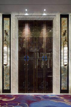 Home Decoration Cheap Ideas Referral: 1940727961 Corridor Design, Entrance Design, Door Design, Elevator Lobby Design, Egyptian Home Decor, Loft Door, Elevator Door, Reception Desk Design, Chinese Interior
