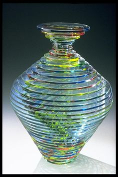 Coldworked glass vase by Mark and Julia Glocke, who will be at the Philadelphia Museum of Art Craft Show in November 2012