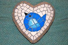 Sweet bird mosaic by mosaic artist Nina Perry