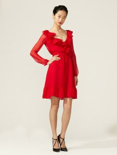 Winter wedding.   I wonder if this may be too much?    Silk Wrap Bodice Ruffle Dress by Valentino on Gilt.com