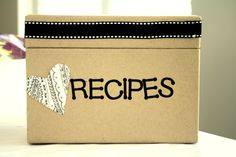 Recipe box for guests to bring their fav recipes for the bride to be #AshleyEvansEvents