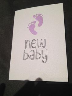 New baby card purple feet baby girl